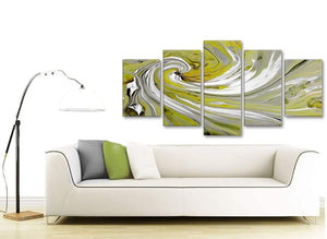 Contemporary Extra Large Lime Green Swirls Modern Abstract Canvas Wall Art Multi 5 Panel 160cm Wide 5351 For Your Dining Room