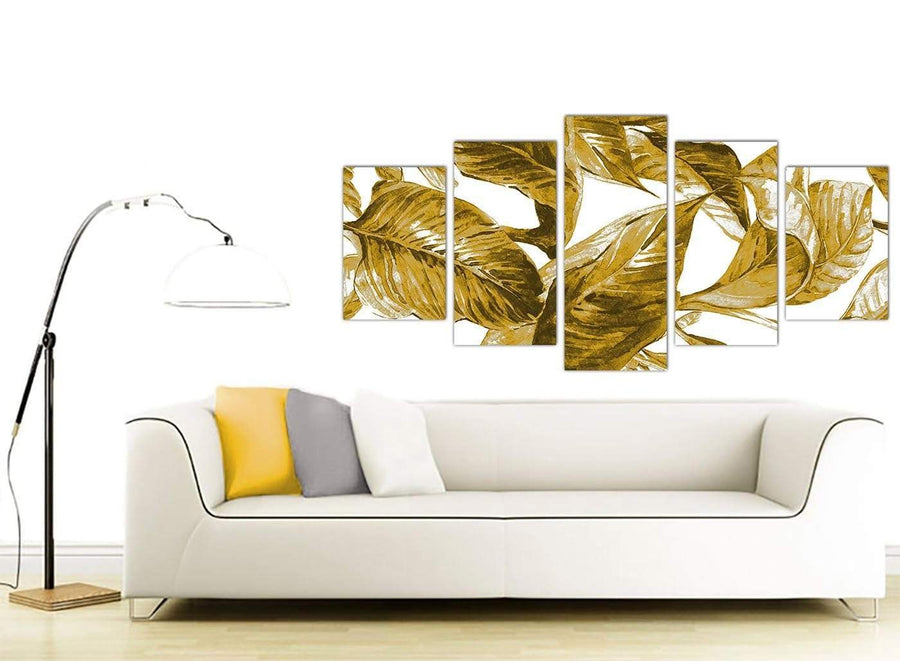 Contemporary Extra Large Mustard Yellow White Tropical Leaves Canvas Split 5 Piece 5318 For Your Dining Room