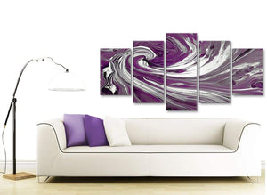 Contemporary Extra Large Plum Purple White Swirls Modern Abstract Canvas Wall Art Split 5 Panel 160cm Wide 5353 For Your Dining Room