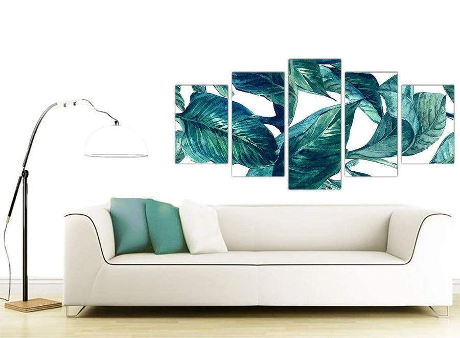 Contemporary Extra Large Teal Blue Green Tropical Exotic Leaves Canvas Multi 5 Piece 5325 For Your Bedroom