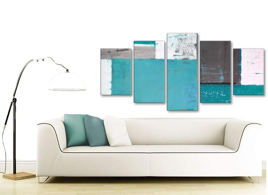 Contemporary Extra Large Teal Grey Abstract Painting Canvas Wall Art Split 5 Panel 160cm Wide 5344 For Your Living Room