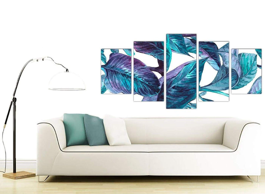 Contemporary Extra Large Turquoise And White Tropical Leaves Canvas Split Set Of 5 5323 For Your Living Room