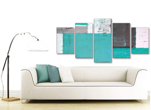 Contemporary Extra Large Turquoise Grey Abstract Painting Canvas Wall Art Multi 5 Set 160cm Wide 5345 For Your Hallway