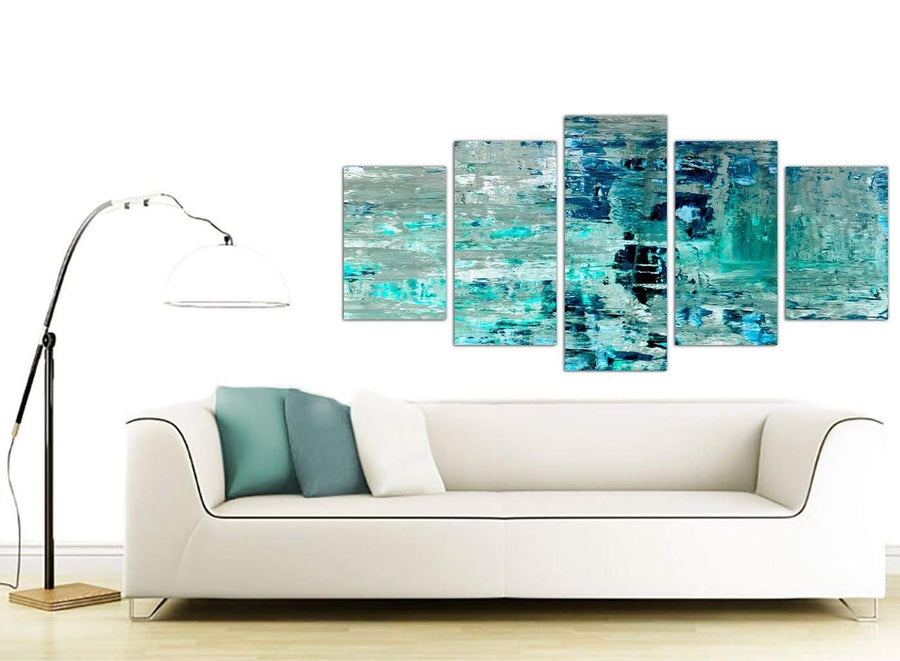 Contemporary Extra Large Turquoise Teal Abstract Painting Wall Art Print Canvas Split Set Of 5 5333 For Your Hallway