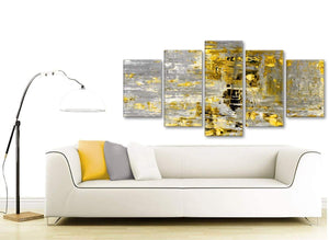 Contemporary Extra Large Yellow Abstract Painting Wall Art Print Canvas Split 5 Panel 160cm Wide 5357 For Your Dining Room