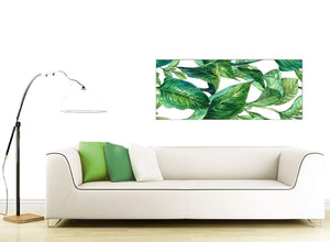 Contemporary Green Palm Tropical Banana Leaves Canvas Modern 120cm Wide 1324 For Your Dining Room