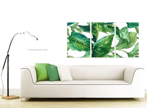 Contemporary Green Palm Tropical Banana Leaves Canvas Split Triptych 3324 For Your Kitchen