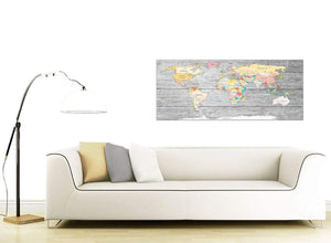 Contemporary Grey Large Map Of World Canvas Art Print Colourful Light Grey Maps Canvas Modern 120cm Wide 1306 For Your Study