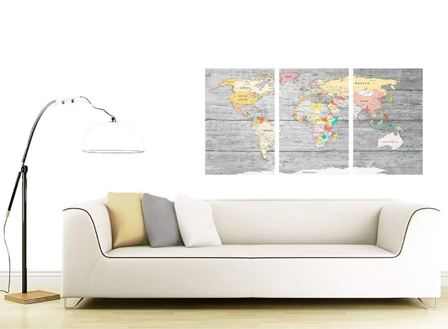 Contemporary Grey Large Map Of World Canvas Art Print Colourful Light Grey Maps Canvas Multi 3 Panel 3306 For Your Dining Room