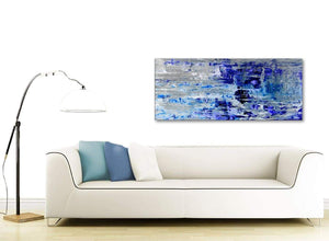 Contemporary Indigo Blue Grey Abstract Painting Wall Art Print Canvas Modern 120cm Wide 1358 For Your Living Room