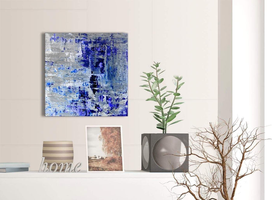Contemporary Indigo Blue Grey Abstract Painting Wall Art Print Canvas Modern 49cm Square 1S358S For Your Dining Room