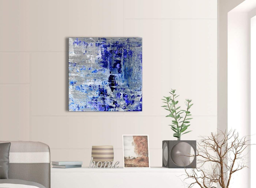 Contemporary Indigo Blue Grey Abstract Painting Wall Art Print Canvas Modern 64cm Square 1S358M For Your Living Room