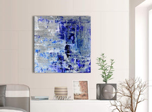 Contemporary Indigo Blue Grey Abstract Painting Wall Art Print Canvas Modern 79cm Square 1S358L For Your Living Room