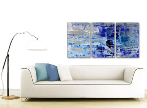 Contemporary Indigo Blue Grey Abstract Painting Wall Art Print Canvas Split Set Of 3 125cm Wide 3358 For Your Dining Room