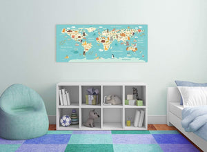 Kids Animal Atlas Map for Nursery in blue and yellow