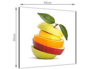 Contemporary Kitchen Canvas Wall Art Sliced Fruit - Apple Shape Food Stack - 1s483m - 64cm Square Picture
