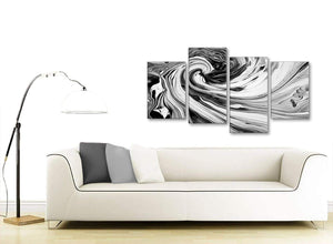Contemporary Large Black White Grey Swirls Modern Abstract Canvas Wall Art Split 4 Piece 130cm Wide 4354 For Your Living Room