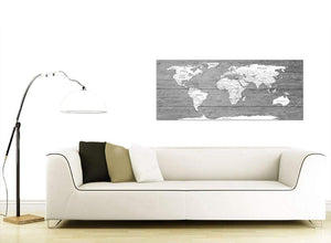 Contemporary Large Black White Map Of World Atlas Canvas Wall Art Print Modern 120cm Wide 1315 For Your Living Room