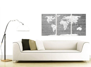 Contemporary Large Black White Map Of World Atlas Canvas Wall Art Print Multi 3 Panel 3315 For Your Living Room