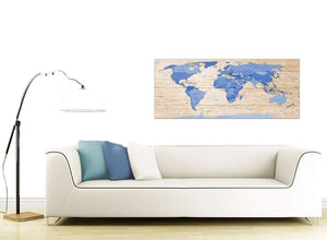 Contemporary Large Blue Cream Map Of World Atlas Canvas Modern 120cm Wide 1308 For Your Office