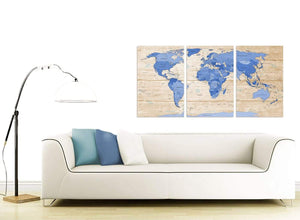 Contemporary Large Blue Cream Map Of World Atlas Canvas Multi 3 Piece 3308 For Your Boys Bedroom