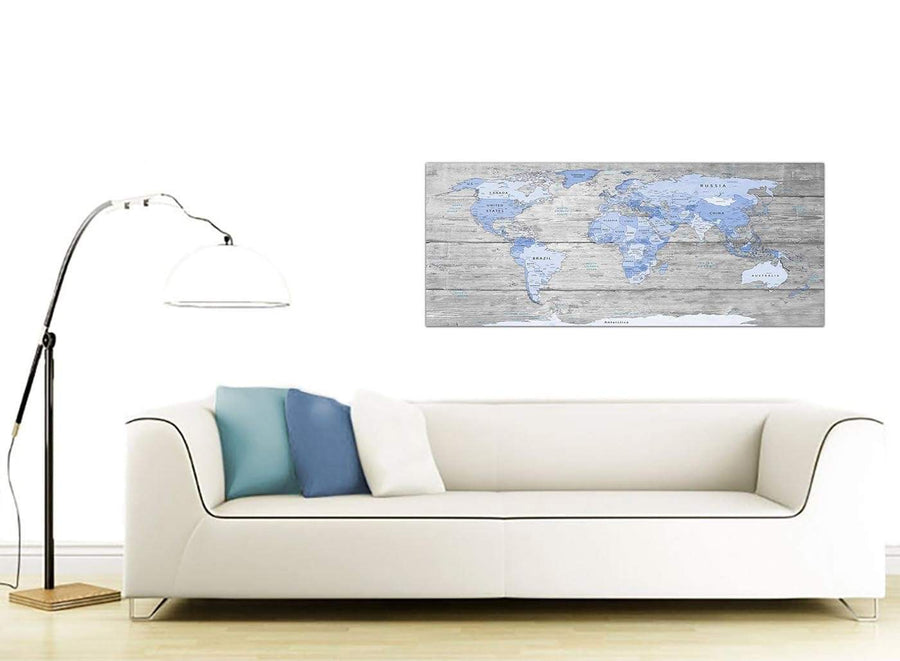 Contemporary Blue Grey Large Map Of World Atlas Maps Canvas Modern 120cm Wide 1303 For Your Study
