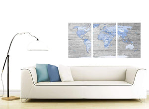 Contemporary Blue Grey Large Map Of World Atlas Maps Canvas Multi 3 Set 3303 For Your Office