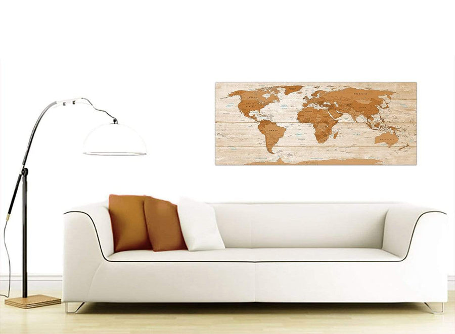 Contemporary Large Brown Cream Map Of World Atlas Canvas Modern 120cm Wide 1307 For Your Living Room