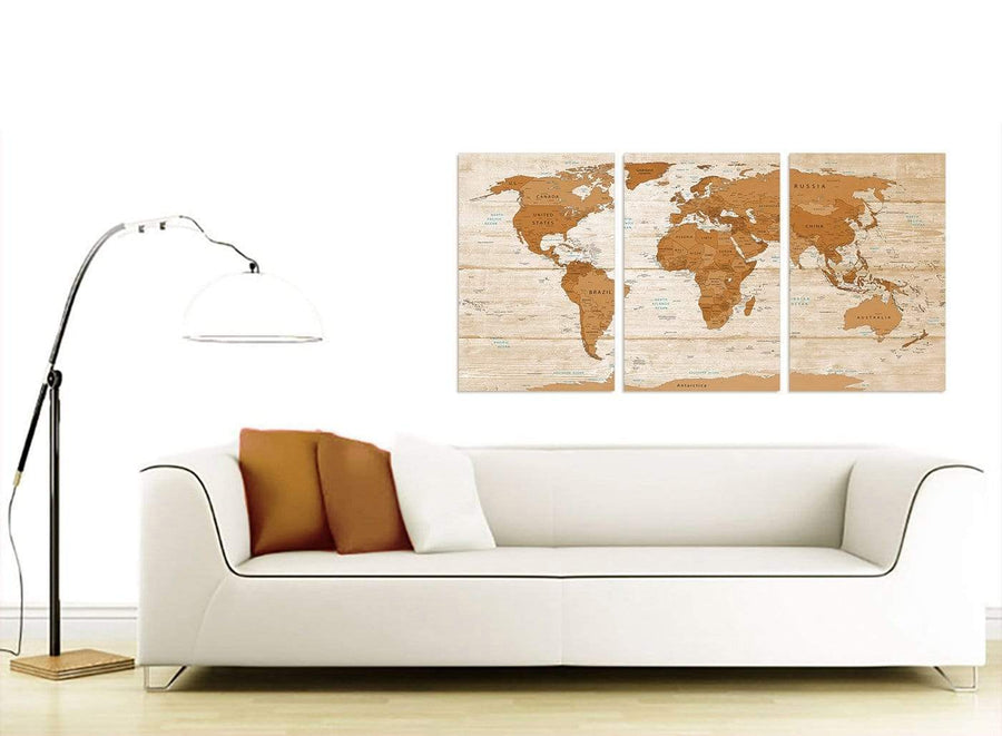 Contemporary Large Brown Cream Map Of World Atlas Canvas Multi 3 Set 3307 For Your Office