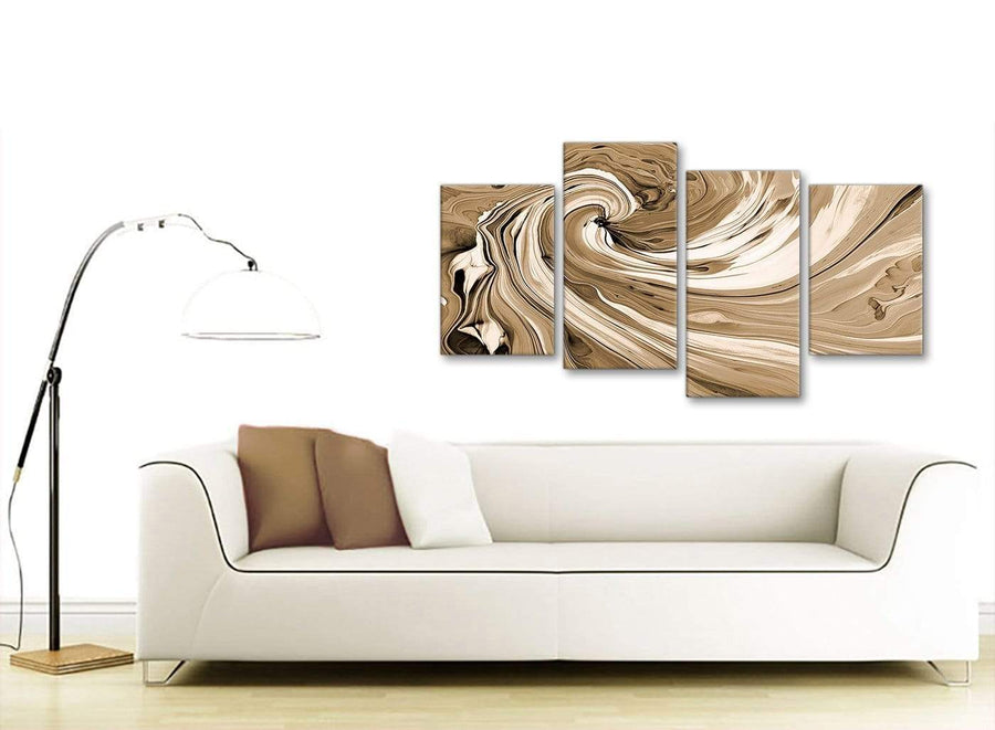 Contemporary Large Brown Cream Swirls Modern Abstract Canvas Wall Art Split 4 Panel 130cm Wide 4349 For Your Kitchen