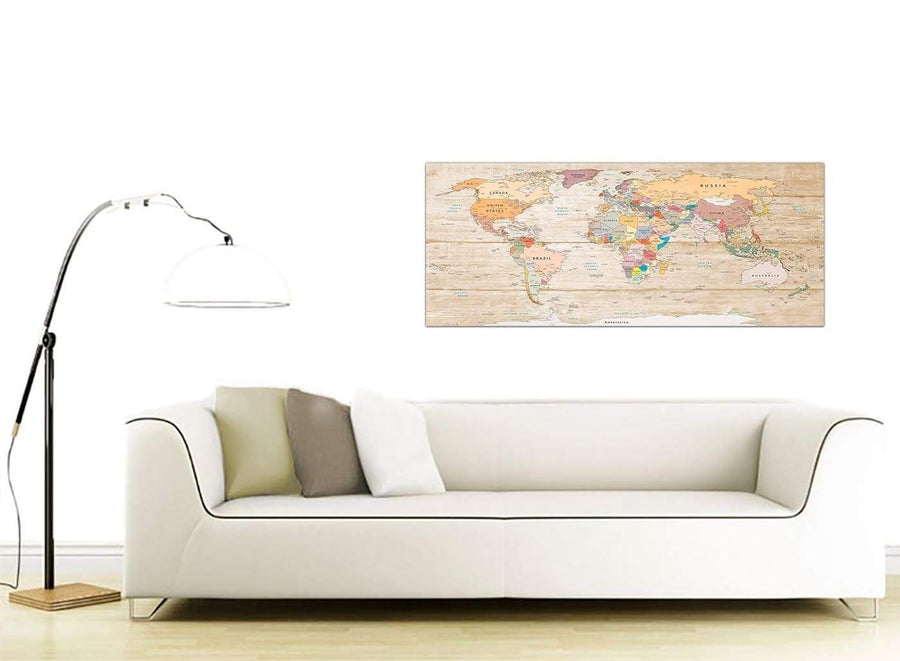 Contemporary Large Cream Map Of The World Atlas Picture Canvas Modern 120cm Wide 1314 For Your Office