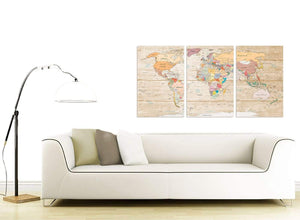 Contemporary Large Cream Map Of The World Atlas Picture Canvas Split 3 Panel 3314 For Your Living Room