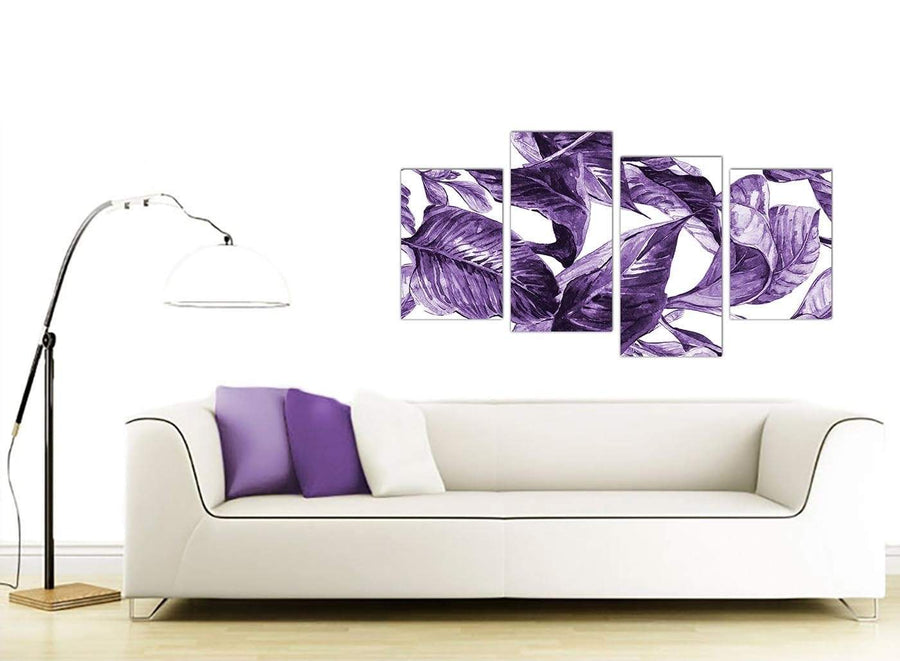 Contemporary Large Dark Purple White Tropical Exotic Leaves Canvas Split 4 Piece 4322 For Your Dining Room