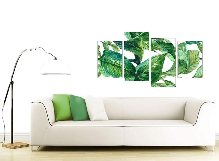Contemporary Large Green Palm Tropical Banana Leaves Canvas Split 4 Part 4324 For Your Kitchen