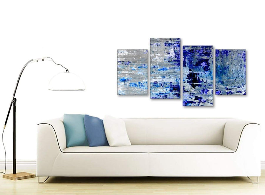 Contemporary Large Indigo Blue Grey Abstract Painting Wall Art Print Canvas Split 4 Part 130cm Wide 4358 For Your Living Room