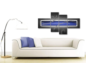 Contemporary Large Indigo Navy Blue Grey White Abstract Canvas Wall Art Split 4 Set 160cm Wide 4348 For Your Living Room