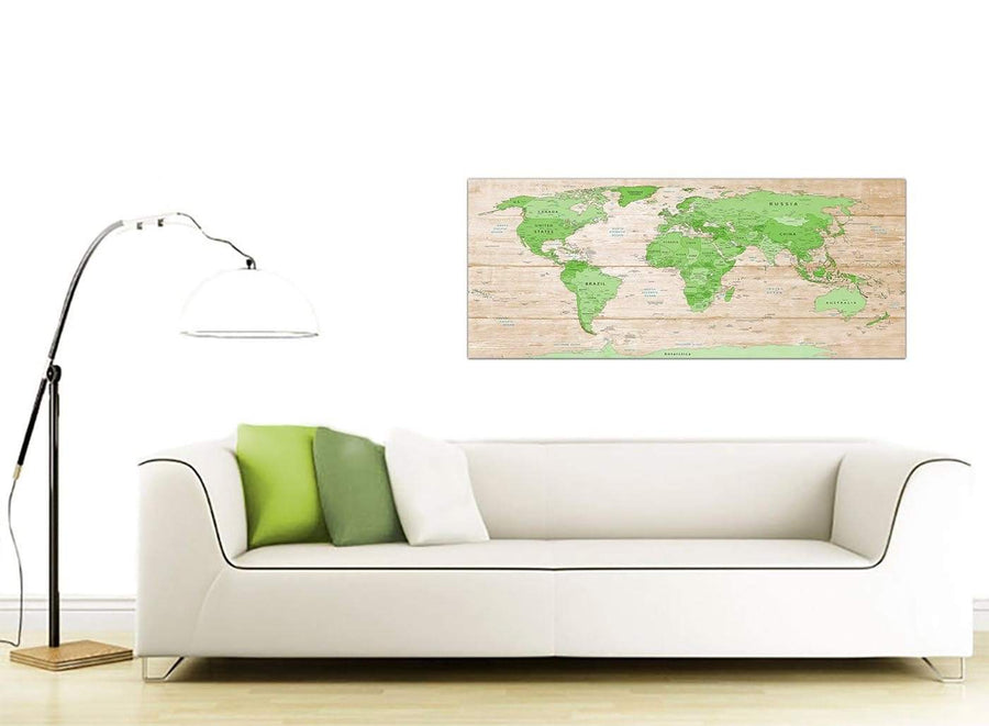 Contemporary Large Lime Green Cream World Map Atlas Canvas Modern 120cm Wide 1310 For Your Living Room