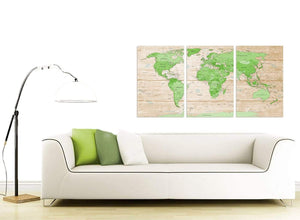 Contemporary Large Lime Green Cream World Map Atlas Canvas Split Set Of 3 3310 For Your Living Room