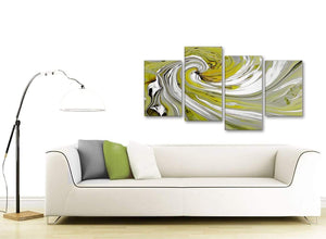 Contemporary Large Lime Green Swirls Modern Abstract Canvas Wall Art Multi 4 Panel 130cm Wide 4351 For Your Kitchen