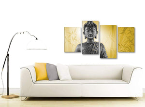 Contemporary Large Mustard Yellow And Grey Silver Wall Art Print Of Buddha Canvas Multi 4 Panel 4328 For Your Living Room