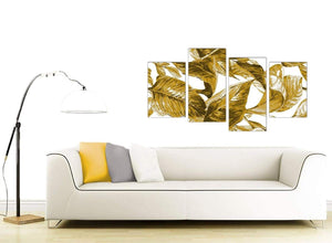 Contemporary Large Mustard Yellow White Tropical Leaves Canvas Split 4 Set 4318 For Your Living Room
