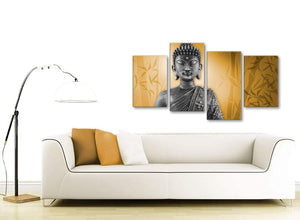 Contemporary Large Orange And Grey Silver Wall Art Prints Of Buddha Canvas Split 4 Piece 4329 For Your Living Room