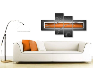 Contemporary Large Orange Grey White Abstract Canvas Wall Art Split 4 Part 160cm Wide 4347 For Your Kitchen