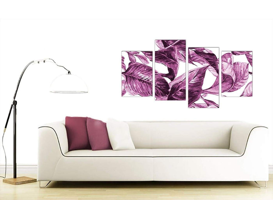 Contemporary Large Plum Aubergine White Tropical Leaves Canvas Multi 4 Set 4319 For Your Girls Bedroom