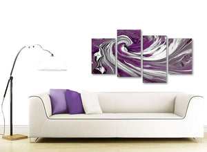 Contemporary Large Plum Purple White Swirls Modern Abstract Canvas Wall Art Split 4 Panel 130cm Wide 4353 For Your Living Room