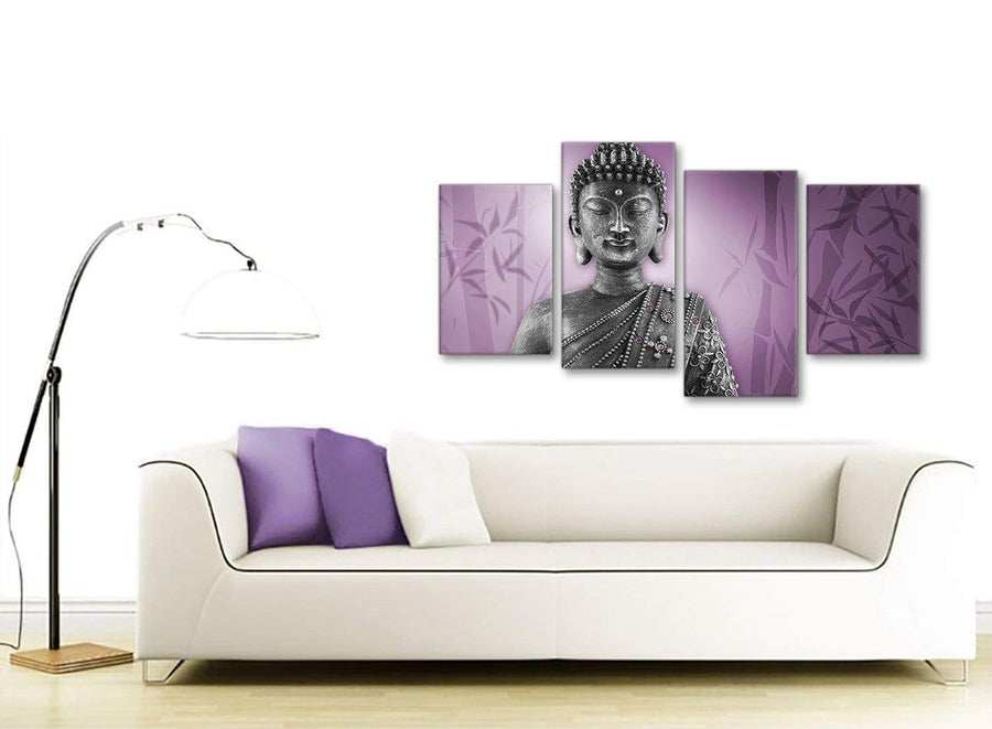 Contemporary Large Purple And Grey Silver Wall Art Prints Of Buddha Canvas Multi 4 Part 4330 For Your Hallway