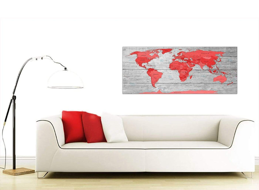 Contemporary Large Red Grey Map Of The World Atlas Canvas Wall Art Print Modern 120cm Wide 1300 For Your Boys Bedroom