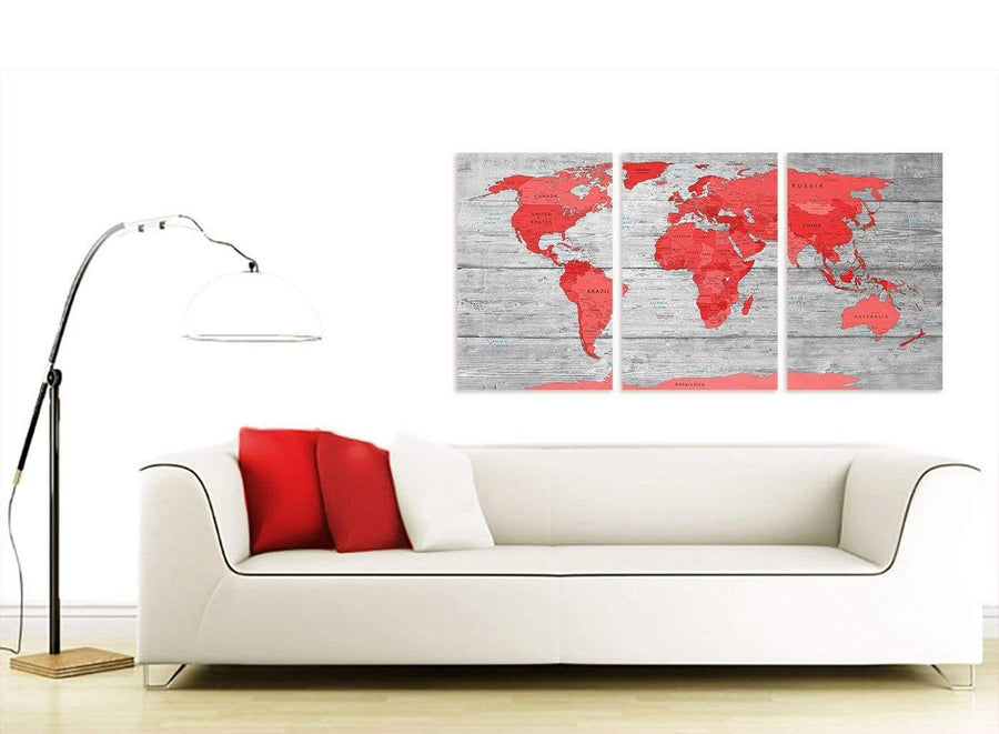 Contemporary Large Red Grey Map Of The World Atlas Canvas Wall Art Print Multi 3 Set 3300 For Your Boys Bedroom
