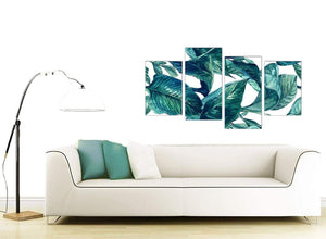 Contemporary Large Teal Blue Green Tropical Exotic Leaves Canvas Multi 4 Piece 4325 For Your Bedroom