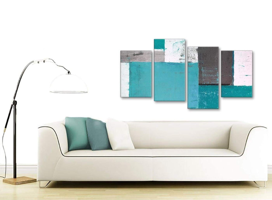 Contemporary Large Teal Grey Abstract Painting Canvas Wall Art Split 4 Panel 130cm Wide 4344 For Your Living Room